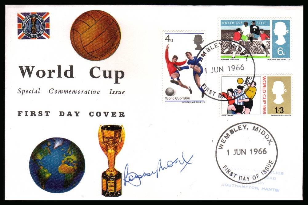 view larger back view image for World Cup set on CONNOISEUR  FDC cancelled with FDI cancel for WEMBLEY - MIDDX dated 1 JUN 1966 autographed by the legend <b>BOBBY MOORE</b>.Completely authentic purchased by me from a good source. Near identical FDC seen elsewhere for £895 <b>QFQ</b>