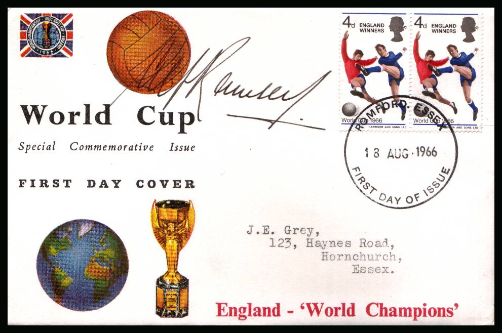 view larger back view image for England ''Winners''   on CONNOISSEUR  FDC cancelled with the FDI cancel for WEMBLEY - MIDDX dated 1 JUN 1966 autographed by the legendary manager <b>ALF RAMSEY</b>.Completely authentic purchased by me from a good source. <b>QFQ</b>