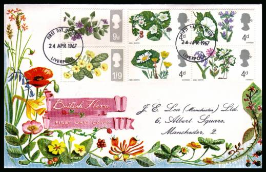 view larger back view image for British Wild Flowers <b>PHOSPHOR</b> set of six on a hanstamped addressed colour CONNOISSEUR FDC cancelled with two strikes of a LIVERPOOL FDI cancel dated 24 APR 1967