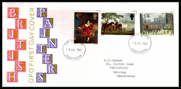 view larger back view image for British Paintings set of three on neatly typed addressed illustrated official GPO colour FDC cancelled with two MANCHESTER FDI handstamps dated 10 JUL 1967