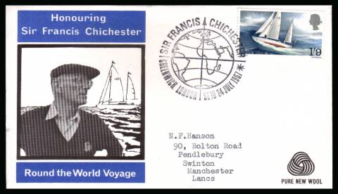 view larger back view image for Sir Francis Chichester's World Voyage single on WESSEX - PURE NEW WOOL logo with neatly typed addressed illustrated FDC cancelled with a strike of the SIR FRANCIS CHICHESTER - GREENWICH - LONDON  FDI handstamp dated 24 JUL 1967.