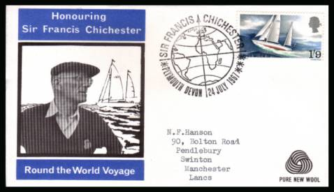 view larger back view image for Sir Francis Chichester's World Voyage single on WESSEX - PURE NEW WOOL logo with neatly typed addressed illustrated FDC cancelled with a strike of the SIR FRANCIS CHICHESTER - PLYMOUTH - DEVON  FDI handstamp dated 24 JUL 1967.