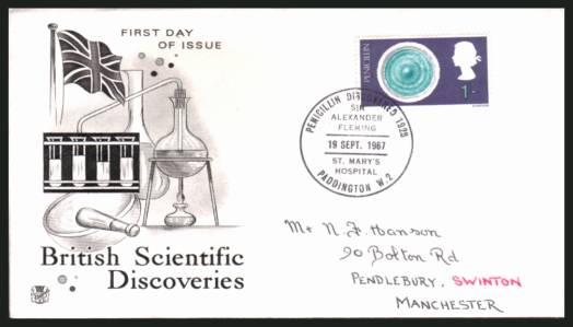 view larger back view image for British Discovery and Invention 1/- value for PENICILLIN on a hand addressed STUART FDC cancelled with the special SIR ALEXANDER FLEMING - PADDINGTON W.2 handstamp dated 19 SEPT 1967. A rare cancel!
