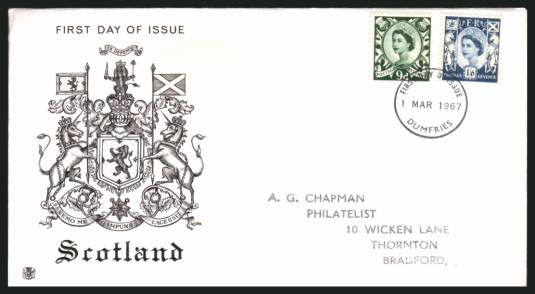 view larger back view image for SCOTLAND 9d and 1/6d on a handstamp addressed STUART FDC cancelled with a DUMFRIES FDI cancel dated 1 MAR 1967.