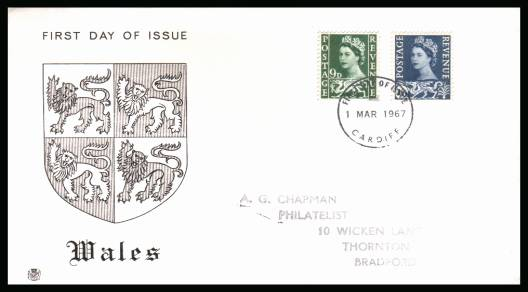 view larger back view image for WALES 9d and 1/6d on a hanstamped addressed STUART FDC cancelled with a CARDIFF FDI cancel dated 1 MAR 1967. 	