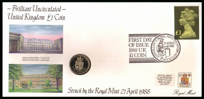 view larger back view image for ROYAL MINT - Coin Cover containing a BRILLIANT UNCIRCULATED �1 coin for UNITED KINGDOM dated 1988 cancelled ROYAL MINT dated 21 APRIL 1988 bearing a �1 stamp. NOTE: Grey area is due to scanning limitations and coin thickness.