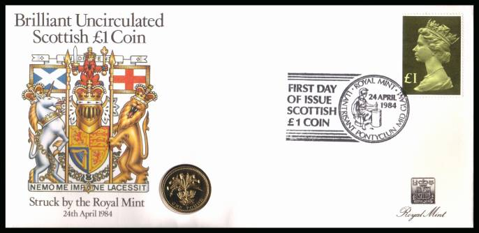 view larger back view image for ROYAL MINT - Coin Cover containing a BRILLIANT UNCIRCULATED �1 coin for SCOTLAND dated 1984 cancelled ROYAL MINT dated 24 APRIL 1984 bearing a �1 stamp. NOTE: Grey area is due to scanning limitations and coin thickness.