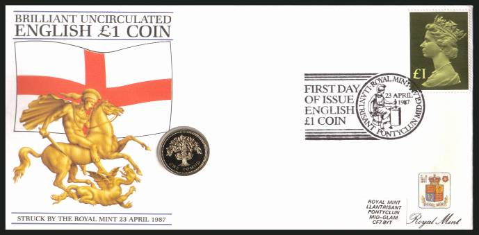 view larger back view image for ROYAL MINT - Coin Cover containing a BRILLIANT UNCIRCULATED �1 coin for ENGLAND dated 1987 cancelled ROYAL MINT dated 23 APRIL 1987 bearing a �1 stamp. NOTE: Grey area is due to scanning limitations and coin thickness.