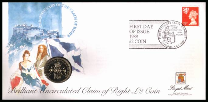 view larger back view image for ROYAL MINT - Coin Cover containing a BRILLIANT UNCIRCULATED �2 coin for CLAIM OF RIGHT dated 1989 cancelled ROYAL MINT dated 14 FEBRUARY 1989 bearing a 19p stamp. NOTE: Grey area is due to scanning limitations and coin thickness.