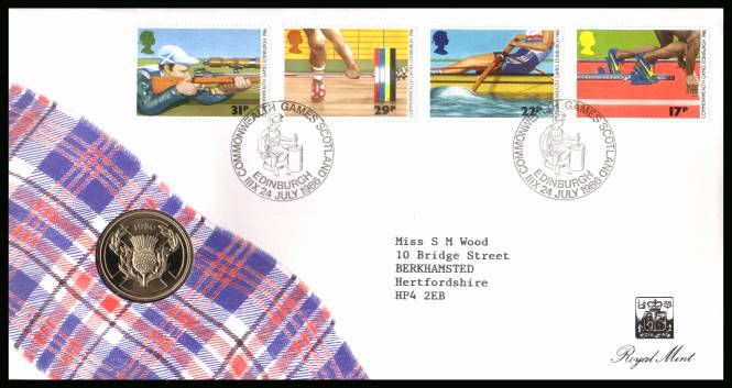 view larger back view image for ROYAL MINT - Commonwealth Games set of four (oddly deliberately produced without the 34p stamp) cancelled 24 JULY 1986 containing the �2 BRILLIANT UNCIRCULATED commemorative coin for the games.