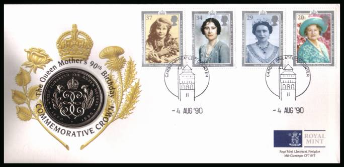 view larger back view image for ROYAL MINT - Queen Mother set of four on a coin cover cancelled CARDIFF PHILATELIC COUNTER -4 AUG '90 containing a Queen Mother �5 coin. Grey area is due to scanning limitations and coin thickness.