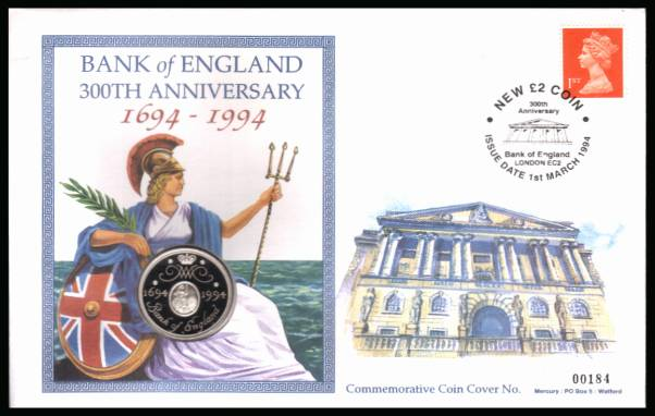 view larger back view image for Commemorative coin cover for BANK OF ENGLAND cancelled NEW �2 COIN - BANK OF ENGLAND EC2 dated 1st MARCH 1994 containing a solid silver proof �2 coin dated 1694 - 1994. With certificate. Only 1000 produced.