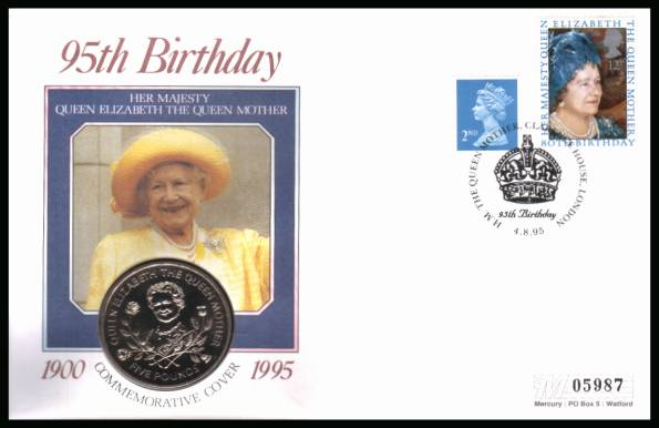 view larger back view image for 95th Anniversary of Queen Mother on a Mercury coin cover with the 12p stamp from 1980 cancelled CLARENCE HOUSE - LONDON dated 4-8-95 containing a GUERNSEY �5 coin for The Queen Mother