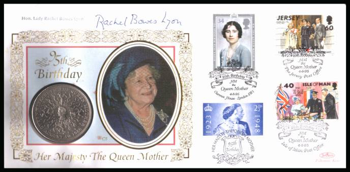 view larger back view image for 95th Anniversary of Queen Mother on a Benham ''silk'' coin cover containing a �5 GB coin bearing a variety of stamps featuring her. Autographed by relative LADY RACHEL BOWES LYON.