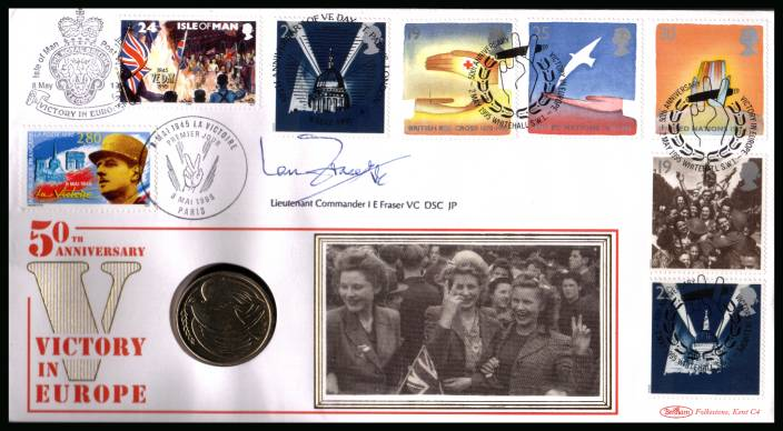 view larger back view image for EUROPA Peace and Freedom Benham coin FDC cancelled 2 MAY 1995 WHITEHALL SW1. Bearing the EUROPA set plus others autographed by war hero I E FRASER VC cointaining a �2 uncirculated VICTORY IN EUROPE coin.