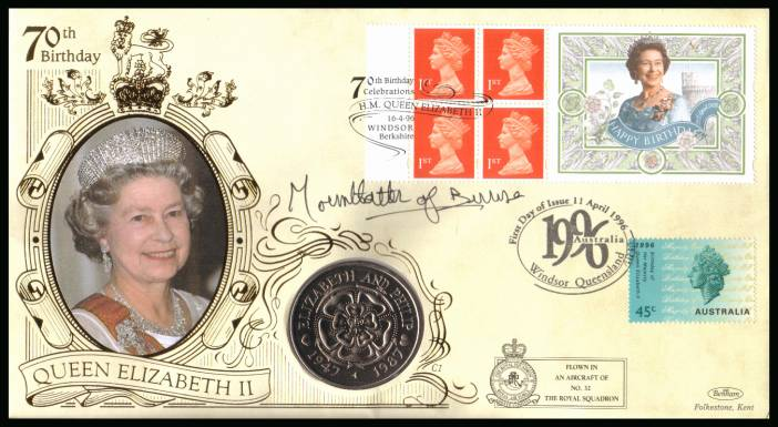 view larger back view image for 70th Birthday of The Queen booklet pane on a Benham flown FDC also bearing an Australian stamp and containing a Tristan Da Cunha 50p coin autographed by Countess MOUNTBATTEN OF BURMA.With BENHAM guarantee certificate - 7500 produced