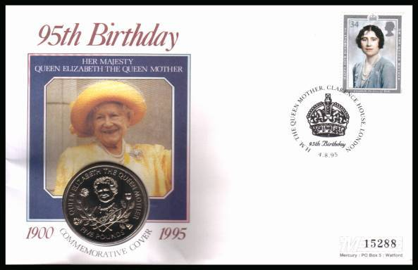 view larger back view image for 95th Anniversary of Queen Mother on a Mercury coin cover with the 34p stamp from 1980 cancelled CLARENCE HOUSE - LONDON dated 4-8-95 containing a GUERNSEY �5 coin for The Queen Mother.  Please Note: Grey areas are due to scanning limitations.