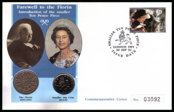 view larger back view image for ''Fairwell to the Florin'' coin covercancelled LONDON SW1 dated 30 SEP 92 containing a florin from 1962 and a brilliant uncirculated 10p coin dated 1992.