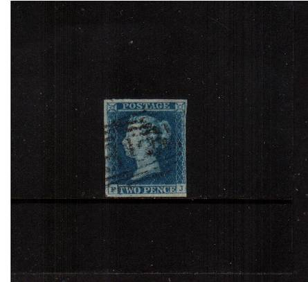 view larger image for SG 15 (1841) - 2d Deep Full Blue from Plate 4 lettered 'F-J'<br/>A three margined stamp just cut into slightly at right. Rich colour!