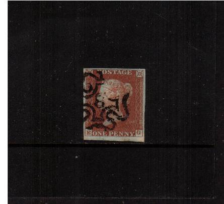 view larger image for SG 8m (1841) - 1d Red-Brown lettered ''E-G''<br/>