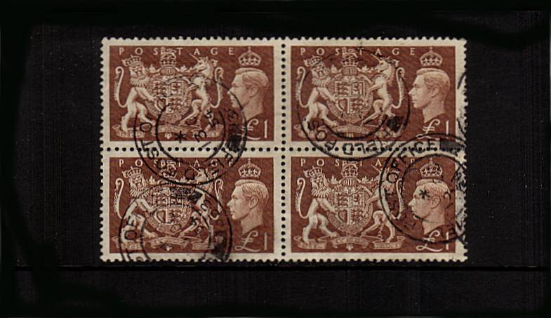 view larger image for SG 512 (1951) - The �1 Brown in a superb fine used block of four cancelled with four strikes of a FIELD POST OFFICE double ring CDS dated 13 OC 54. A lovely block with excellent centering too!