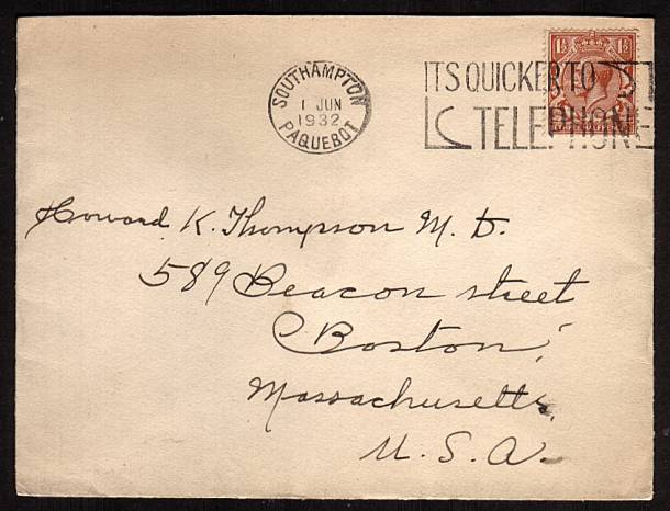 view larger front view of image for 1�d Red-Brown on a fresh CUNARD envelope cancelled with a SOUTHAMPTON - PAQUEBOT slogan cancel ''ITS QUICKER TO TELEPHONE'' to BOSTON USA