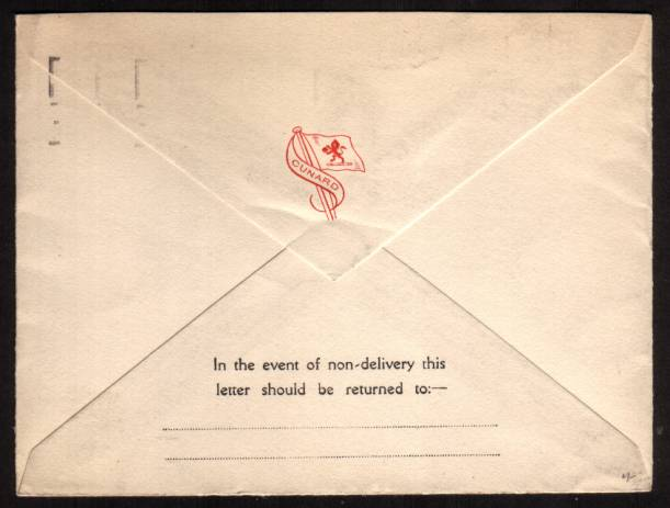 view larger back view of image for 1�d Red-Brown on a fresh CUNARD envelope cancelled with a SOUTHAMPTON - PAQUEBOT slogan cancel ''ITS QUICKER TO TELEPHONE'' to BOSTON USA