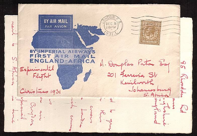 view larger front view of image for 1/- Bistre-Brown on an IMPERIAL AIRWAYS endorsed EXPERIMENTAL FLIGHT with letter detaing same cancelled with LONDON F.S. ''wavy line'' dated DEC 8 1931. The cover is backstamped JOHANNESBURG 21 DEC 31. Lovely! 