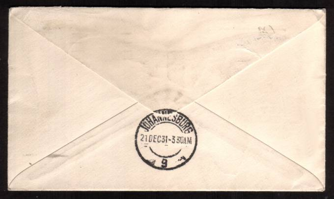 view larger back view of image for 1/- Bistre-Brown on an IMPERIAL AIRWAYS endorsed EXPERIMENTAL FLIGHT with letter detaing same cancelled with LONDON F.S. ''wavy line'' dated DEC 8 1931. The cover is backstamped JOHANNESBURG 21 DEC 31. Lovely! 