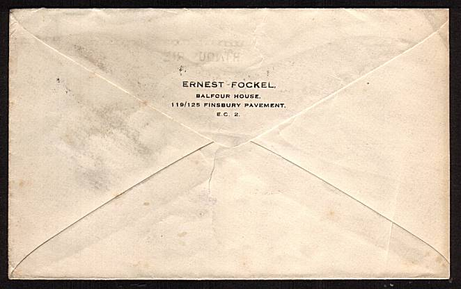 view larger back view of image for 2�d Blue on a small business envelope with a neatly typed address to GERMANY cancelled with a LONDON F.S. slogan cancel dated DEC 14 1928 reading BRITISH INDUSTRY FAIR.