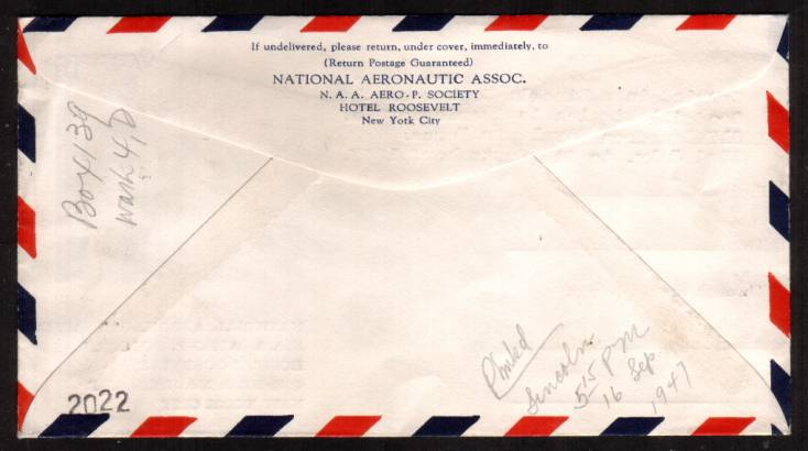 view larger back view of image for 1/- Bristre-Brown on an airmail envelope carried in a Lincoln Bomber of 617 Squadron RAF on a Goodwill flight 23 July 1947.    