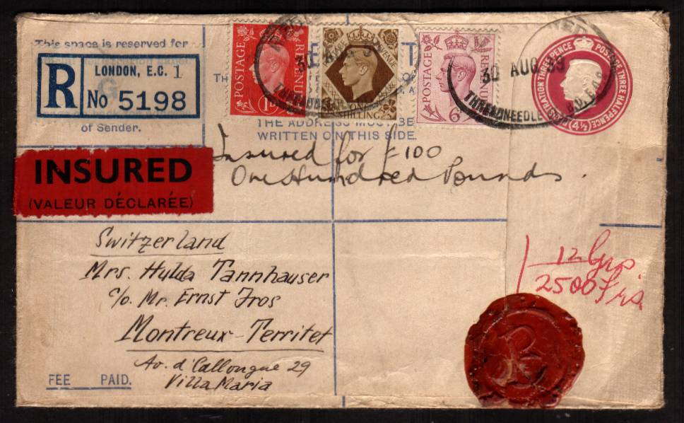 view larger front view of image for Registered envelope cancelled with THREADNEEDLE ST oval handstamp to SWITZERLAND insured for �100. This letter was sent a few hours before the outbreak of World War II possibly in a panic to get valuables out of the country!<br/><b>XZX</b>
