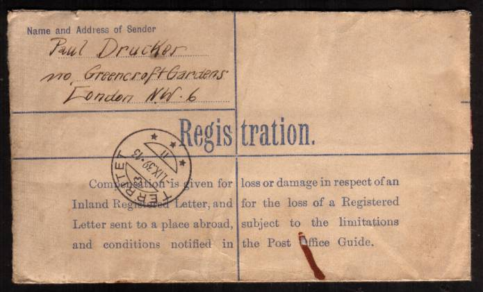 view larger back view of image for Registered envelope cancelled with THREADNEEDLE ST oval handstamp to SWITZERLAND insured for �100. This letter was sent a few hours before the outbreak of World War II possibly in a panic to get valuables out of the country!<br/><b>XZX</b>