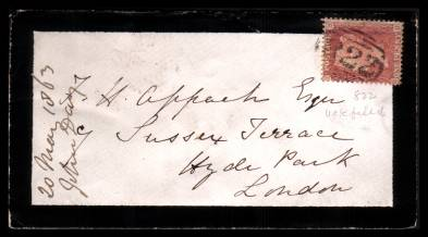 view larger front view of image for 1d Red ''Stars'' lettered ''R-D'' cancelled with a ''822'' for UCKFIELD on a mourning envelope to HYDE PARK - LONDON dated MY 19 63.