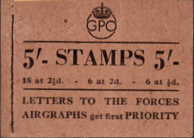 British Stamps George 6th Booklets Item: view larger image for SG BD28-5 (1943) - 5/- Booklet<br/>