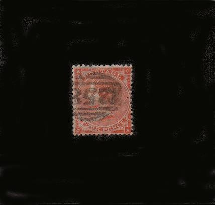 view larger image for SG 80 (1862) - 4d Pale Red from Plate 3 (no hairlines) lettered ''C-A''<br/>