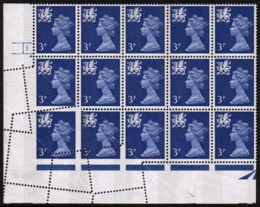 view larger image for SG W14var (1971) - <b>WALES</b> - 3p Ultramarine - 2 Bands. a superb unmounted mint SW corner Cylinder ( 1 No Dot) block of fifteen with two paper fold prior to perforating.