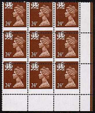 view larger image for SG W59var (1991) - <b>WALES</b> - 24p Chestnut - Phosphorised Paper superb unmounted mint SE corner block of nine showing a large downwards perforation shift.