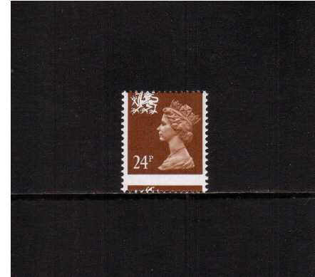 view larger image for SG W59var (1991) - <b>WALES</b> - 24p Chestnut - Phosphorised Paper superb unmounted mint single showing a large downwards perforation shift.