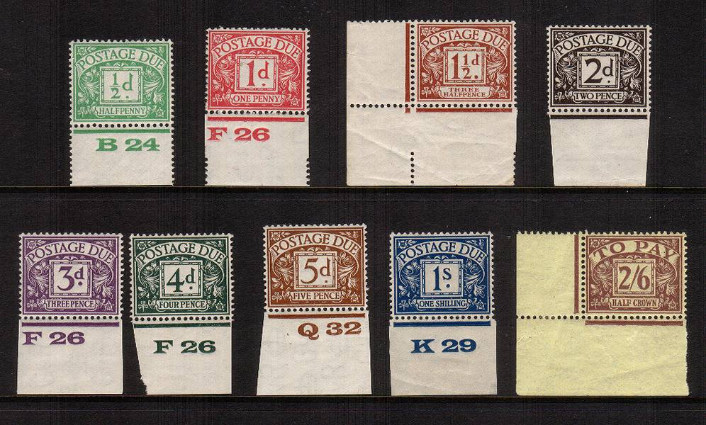 view larger image for SG D10-D18 (1924) - The BLOCK CYPHER set of nine superb unmounted mint with the bonus of each stamp being lower marginal thus easily showing the watermark. Rare to find like this. A DIENA colour certificate for four  accompanies. SG Cat �725