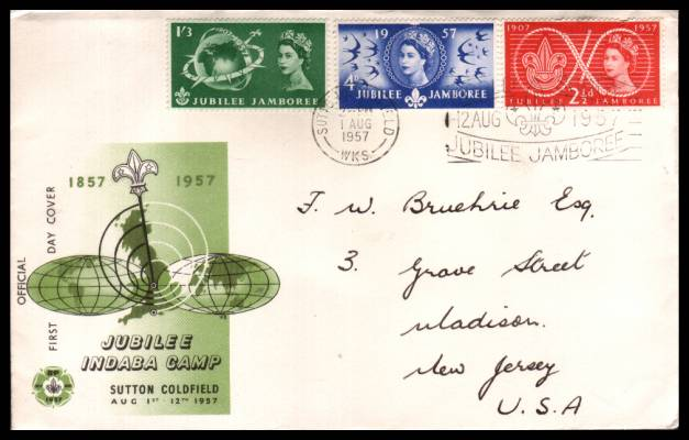 view larger back view image for World Scout Jubilee Jamboree set of three on a hand addressed illustrated OFFICIAL FDC cancelled with the SUTTON COLDFIELD slogan cancel reading ''WORLD SCOUT JUBILEE JAMBOREE'' dated 1 AUG 1957 to NEW JERSEY USA