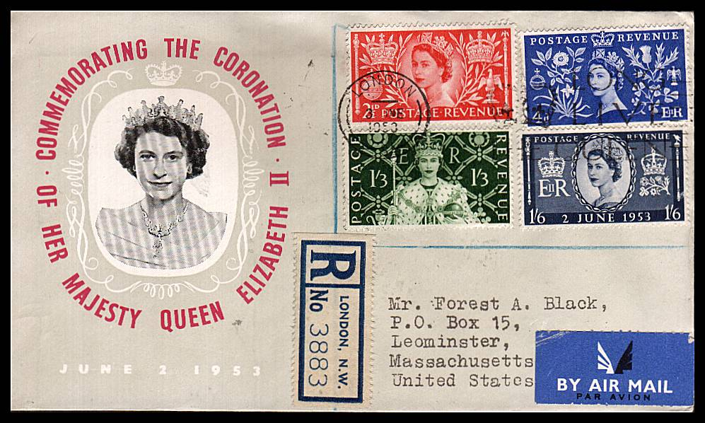 view larger back view image for Coronation set of four on a small Registered FDC to USA cancelled with a LONDON LONG LIVE THE QUEEN slogan. Note the cover has a Blue-Grey colour except for the unprinted area around the Queen's head. 
