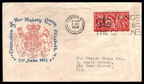 view larger back view image for Coronation 2½d Carmine-Red on a small colour illustrated neatly typed addressed FDC cancelled with the 'LONG LIVE THE QUEEN' slogan cancel for LONDON W1 dated 3 JUN 1953.  