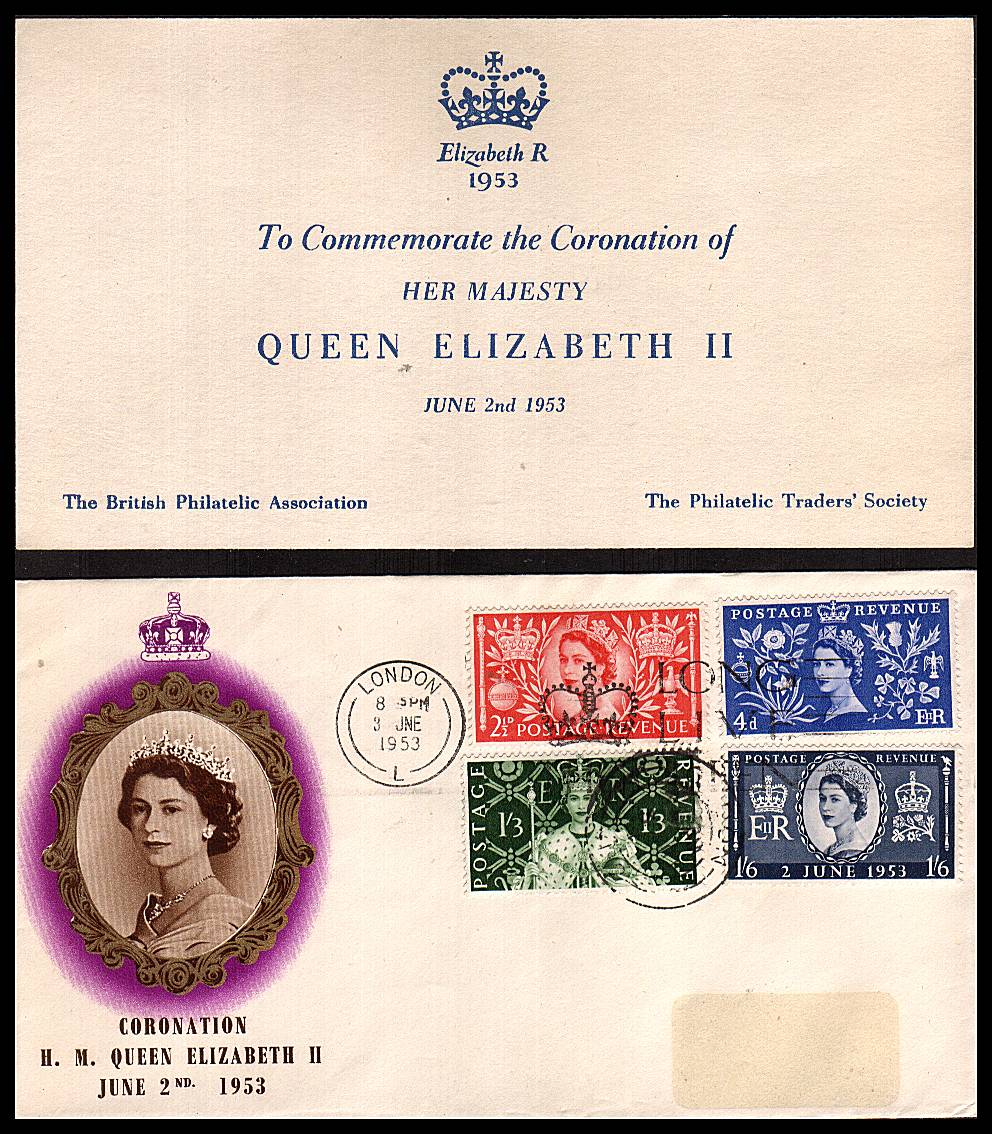 view larger back view image for Coronation set of four on an UNADDRESSED (label removed)  illustated FDC cancelled with a LONDON slogan cancel reading ''LONG LIVE THE QUEEN'' dated 3 JUN 1953 together with insert card.
