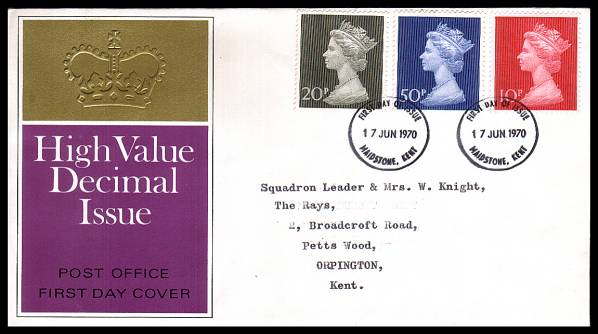 view larger back view image for Decimal Currency set of three on neatly typed official Post Office FDC cancelled with two MAIDSTONE - KENT FDI cancels dated 17 JUN 1970.<br/><b>QHQ</b>