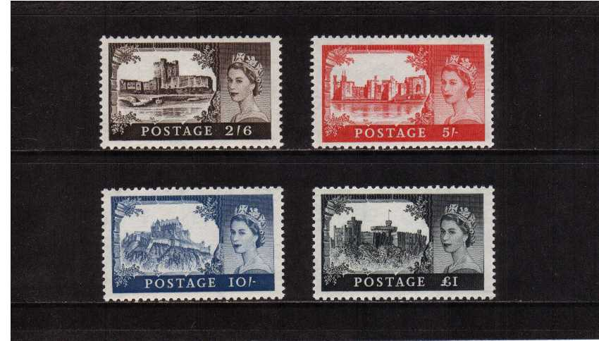 view larger image for SG 595-598 (1959) - Elizabeth II <br/>'Castles'  - by De La Rue<br/>   Multiple Crowns Watermark<br/> Definitive set of four