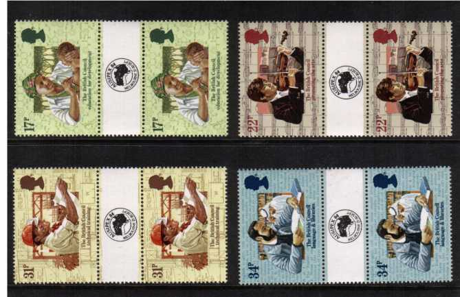 view larger back view image for 50th Anniversary of British Council set of four <br/>with AUSIPEX 84 overprint on gutter superb unmounted mint.