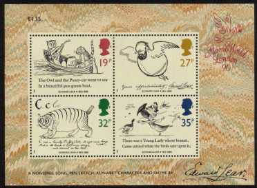 view larger image for SG MS1409 (27 Sept 1988) - Edward Lear minisheet