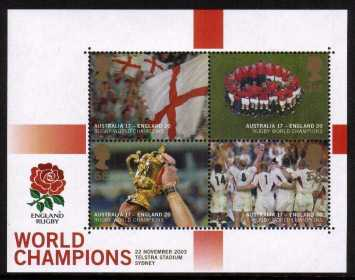 view larger image for SG MS2416 (19 Dec 2003) - England's Rugby World Cup Victory minisheet