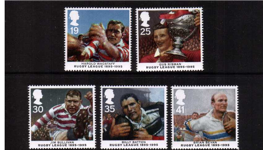 view larger image for SG 1891-1895 (1995) - Centenary of Rugby League set of five